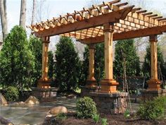 Anchoring a free-standing patio cover to stone, block or brick piers will make the structure more substantial.
