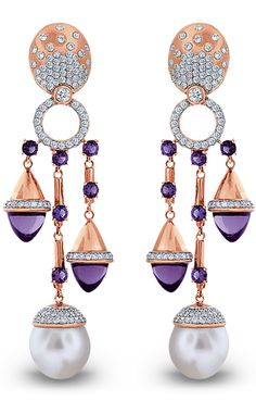 rose gold earrings set with two Australian South Sea pearls each 16 amethysts totaling carats and 332 brilliant cut diamonds totaling carats. Gems Jewelry, High Jewelry, Pearl Jewelry, Antique Jewelry, Jewelry Accessories, Jewelry Design, Indian Jewelry, Jewellery, Cowgirl Bling