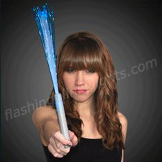 White Flashing Stick Wands with Rainbow Sparkle Fibers - SKU NO: 11664-WT  72 for $1.44 each