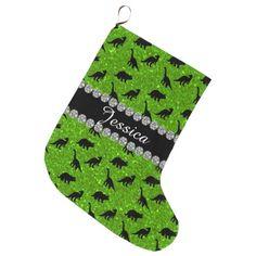 Green Dinosaur Glitter Bling Custom Monogram Name Large Christmas Stocking
