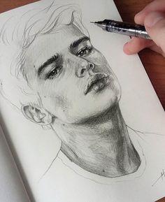 drawings of disney Portrait Sketches, Pencil Portrait, Portrait Art, Pencil Art Drawings, Art Drawings Sketches, Guy Drawing, Drawing People, Easy Sketches, Art Du Croquis