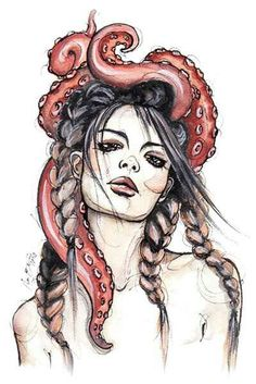 Tentacle art, girl living tentacles