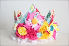 Pinwheel Inspired Pink Aqua and Yellow Rosette Fabric Crown - Perfect Birthday Hat or Lemonade Stand Photography Prop