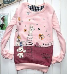 Teenage Girls Lovely Bunny Bear Cartoon Cotton Crew Sweatshirt Top Pink Jumper   eBay