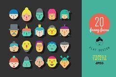 20 faces. Flat gesign. by Lera Efremova on Creative Market S:\Marketing\_MOM\Creative Market Freebies\20-faces.-Flat-gesign..zip