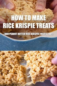 How to make the best no bake peanut butter Rice Krispie treats They re soft and chewy gooey with marshmallows and such an easy recipe to make with kids flouronmyfingers RiceKrispietreats peanutbutter easyrecipes dessertrecipes Crispy Treats Recipe, Rice Crispy Treats, Rice Krispies Treats Original Recipe, Peanut Butter Rice Krispie Treats Recipe, Homemade Rice Krispies Treats, Rice Recipes For Dinner, Dessert Recipes, Popcorn Recipes, Marshmallows