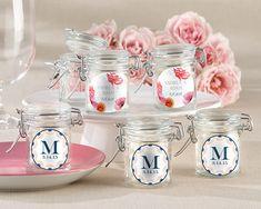 Personalized Glass Favor Jars - Botanical (Set of 12) from HotRef.com #Botanical #favorjar #wedding