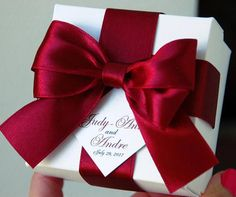 Wedding favor boxes personalized with Burgundy satin ribbon, bow and your names, Elegant Personalized Wedding Favor Box for guests – Destination Wedding Welcome Bags Purple Wedding Favors, Champagne Wedding Favors, Sweet Wedding Favors, Blue And Blush Wedding, Custom Wedding Favours, Wedding Gifts For Guests, Wedding Favor Boxes, Personalized Wedding Favors, Personalized Ribbon