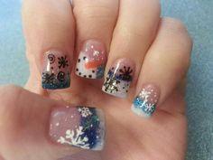 Winter snowflake, snowman nails