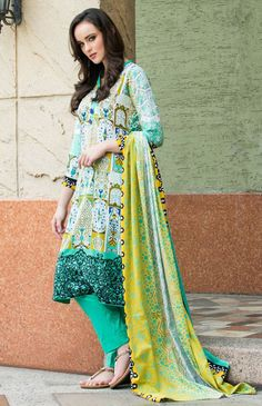 Sea Green/White Printed Cotton Lawn Dress - PakRobe