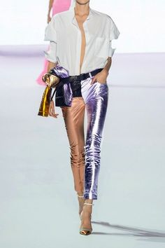 Haider Ackermann - Paneled Metallic And Matte-leather Skinny Pants - Lilac - FR
