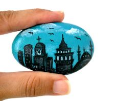 Galata  Cityscape Painted River Rock Painted Stone by ShebboDesign, $29.00