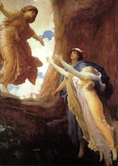 Frederic Lord Leighton   British, 1830 - 1896  Return of Persephone  Date: circa 1891. Horizontal arms of Demeter and vertical of Persephone suggest the Cross-- the Greek myth turned into the Christian Resurrection?