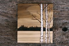 Birch Trees  Art   Wood burning by TwigsandBlossoms on Etsy