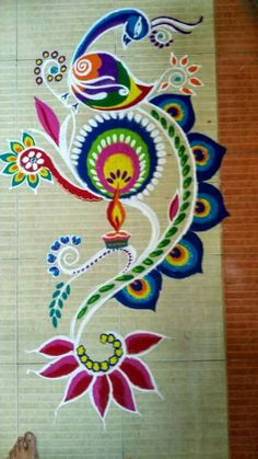 Peacock Simple Rangoli Designs Images, Rangoli Designs Flower, Rangoli Border Designs, Rangoli Patterns, Colorful Rangoli Designs, Rangoli Ideas, Rangoli Designs Diwali, Diwali Rangoli, Flower Rangoli