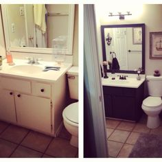 Bathroom: Before and After. Painted vanity black, walls are Benjamin Moore Revere Pewter, new and narrower toilet installed that doesn't touch the vanity, and oil rubbed bronze hardware.