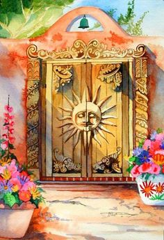 Hand carved doors on adobe home original painting ~ Barbara Ann Spencer Jump. Artwork Images, Artwork Prints, Southwest Art, Southwestern Style, Original Art, Original Paintings, Santa Fe Style, Unique Doors, Fairy Doors