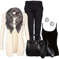 The elegant white cardigan and animal-print scarf make this look. (I don't own any animal print clothes, but I may have to reconsider. Casual Outfits, Cute Outfits, Fashion Outfits, Womens Fashion, Fall Winter Outfits, Autumn Winter Fashion, Mode Style, Style Me, Winter Stil