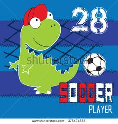 soccer player dinosaur with ball on striped background vector illustration