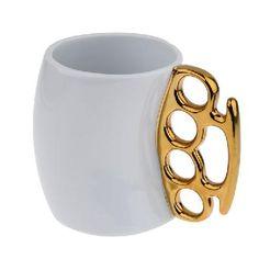 New Style Creative Ceramic Fist Cup Mug - White + Gold