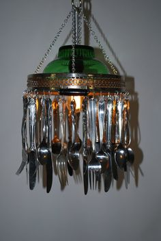 Vintage Recycled Re-Purposed Silverware Chandelier Pendant Lamp Light. $150.00, via Etsy.