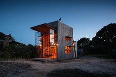 'hut on sleds' by crosson clarke carnachan architects provides for a family of five, despite measuring only 40 square meters.
