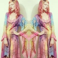 CRUX AND CROW Bohemian rainbow lace bell sleeve dress
