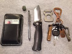 Black leather wallet my wife made and put my initials on.     Cross Tech3 Pen     LionSteel SR-1A knife     Home/Truck keys     Cu Maratac AAA     Atwood RB Wrunt     USN tag and Corter Leather bottle hook     Jade buddha head     Burnley Cypop