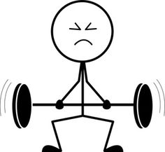 Weakling Cartoon Clipart Image: Skinny, Scrawny Weightlifter Struggling to Lift Barbells