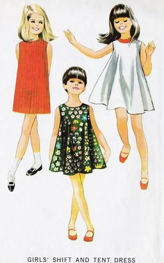 1960s Girls Shift and Tent Dress Vintage Sewing, Summer Dress, Summer Fashion, McCall's 8806 size 14 via Etsy.