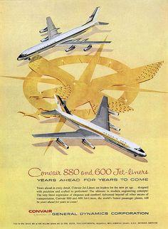 Vintage Airline Advertising  Convair 880-990
