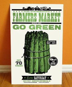 Go Green Asparagus Letterpress Poster - 11x17 Farmers Market Print - Made in Ohio featuring vintage woodtype - vegetable