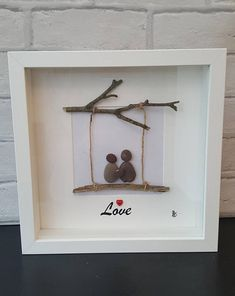Any personalised wording can be added, simply state on ordering. Pebbles and twigs are all natural therefore small variations my occur on each picture Twig Crafts, Stone Crafts, Frame Crafts, Rock Crafts, Crafts To Do, Arts And Crafts, Driftwood Crafts, Stone Pictures Pebble Art, Stone Art