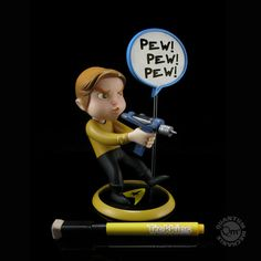 Star Trek cuteness! Trekkies Kirk Q-Pop PVC  Figure - you can write a quote on the word bubble!