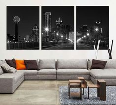 Large Canvas Print - Texas Dallas Skyline Black & White Night Cityscape, Dallas Large Art Canvas Print, Texas Dallas City Art Canvas Print