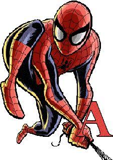 Alfabeto de Spiderman con telaraña.