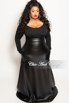 d84326e1ea Final Sale Plus Size Long Faux Leather Maxi Skirt in Black – Chic And Curvy