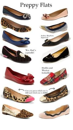 Love the kitten loafers, cap toe leopard flats, and the pale pink flats with the zig zag black trim!