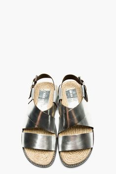 DSQUARED2 Silver Leather Sandal