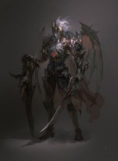 In our character design series I publish all kind of characters, designed in totally different ways. Today I have some amazing fantasy characters created by Guangjian Huang (~hgjart on DeviantArt), a designer from China. Dark Fantasy, Fantasy Concept Art, Fantasy Images, Fantasy Armor, Magical Creatures, Fantasy Creatures, Vampires, Character Art, Character Design