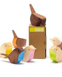 Wood bird ornaments