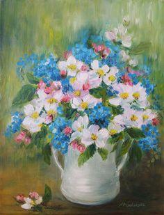 Wiosna w dzbanie - olej - Maria Roszkowska Still Life, Mario, Flower Paintings, Painted Flowers, Vases, Paintings Of Flowers, Flower Pictures, Floral Paintings
