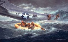 The Ditching by Gil Cohen - Unable to return to their base in England, a Ww2 Aircraft, Military Aircraft, Military Art, Military History, Military Diorama, Military Photos, Fighter Pilot, Fighter Jets, Aircraft Painting