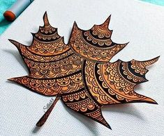 Image in Art🎨 collection by Naz on We Heart It Mandala Art Lesson, Mandala Artwork, Mandala Drawing, Autumn Crafts, Autumn Art, Nature Crafts, Dry Leaf Art, Leaf Crafts, Painted Leaves