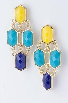 Blues Chain Link Beaded Earrings by ALLYandASHLEY on Etsy,