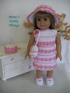 18 in doll clothes for American girl and similar 18 in Dolls, Crocheted and hand crafted Dress in white and pink. Matching hat, shoes.... $24.00, via Etsy.