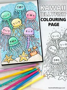 Kawaii under-the-sea themed colouring page! This cute jellyfish printable is a really fun colouring project for both kids and alike. Free download from Kate Hadfield Designs. Cool Coloring Pages, Coloring Pages For Kids, Coloring Books, Kawaii Faces, Cute Kawaii Drawings, Sea Creatures Drawing, Jellyfish Drawing, Doodle Pages, Printable Adult Coloring Pages