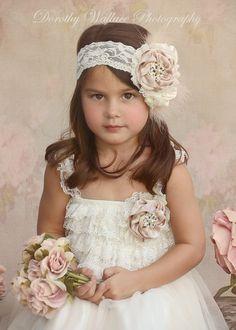 Ivory cream lace Dress with matching beige satin by TashiCataleya