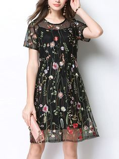 469dbcf512 Black Two-piece Floral Embroidered Mini Dress