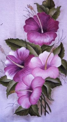 The Pink Hibiscus - Oils over Acrylic Tole Painting, Fabric Painting, Painting & Drawing, Interior Painting, Painting Walls, Art Floral, Fabric Paint Designs, Rock Flowers, Flower Wallpaper